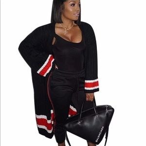 Oversized black and red stripe cardigan new